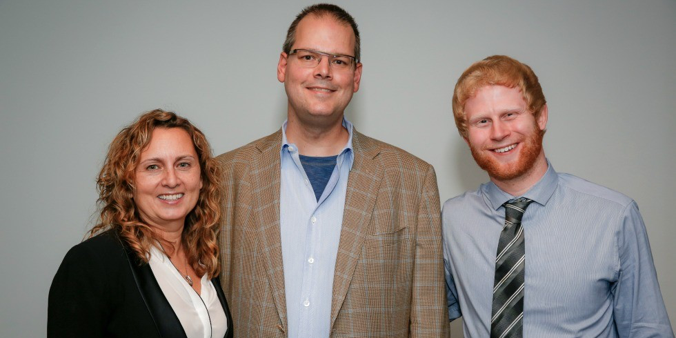(From left) VMS mentor Kristina Milke, Ray Muzyka and entrepreneur Joel Wegner. (Photo: Dwayne Martineau)