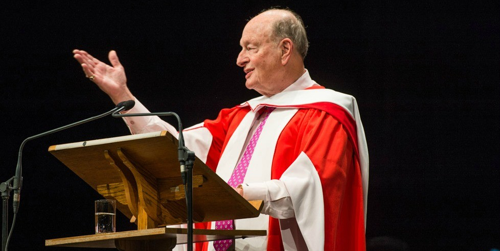 Hugh Bolton, who graduated from UAlberta in 1959 with an economics degree, returned to campus to offer leadership advice to graduands during convocation ceremonies on November 18. (Photo: Richard Siemens)
