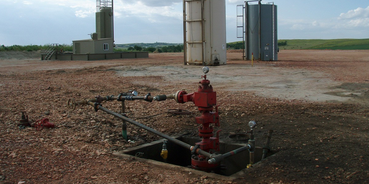 Hydraulic fracturing equipment of the type used on a site like this has caused numerous induced earthquakes in Western Canada. Photo credit: Joshua Doubek.