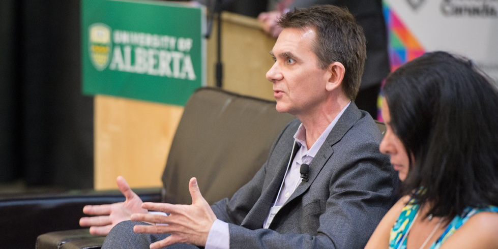 Imre Szeman, co-director of UAlberta's Petrocultures Research Group, makes a point during the panel discussion at the Mindshare event April 18. (Photos: Richard Siemens)