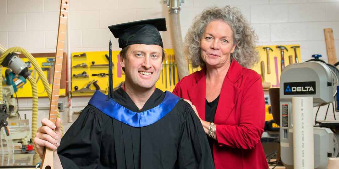 Jeff Bone earned his education degree in just over two years. He credits professor Bonnie Watt-Malcolm for easing his anxieties about going back to school after more than 20 years, and for supporting him through the transition from journeyman carpenter to his dream job as a teacher. (Photo: Richard Siemens)