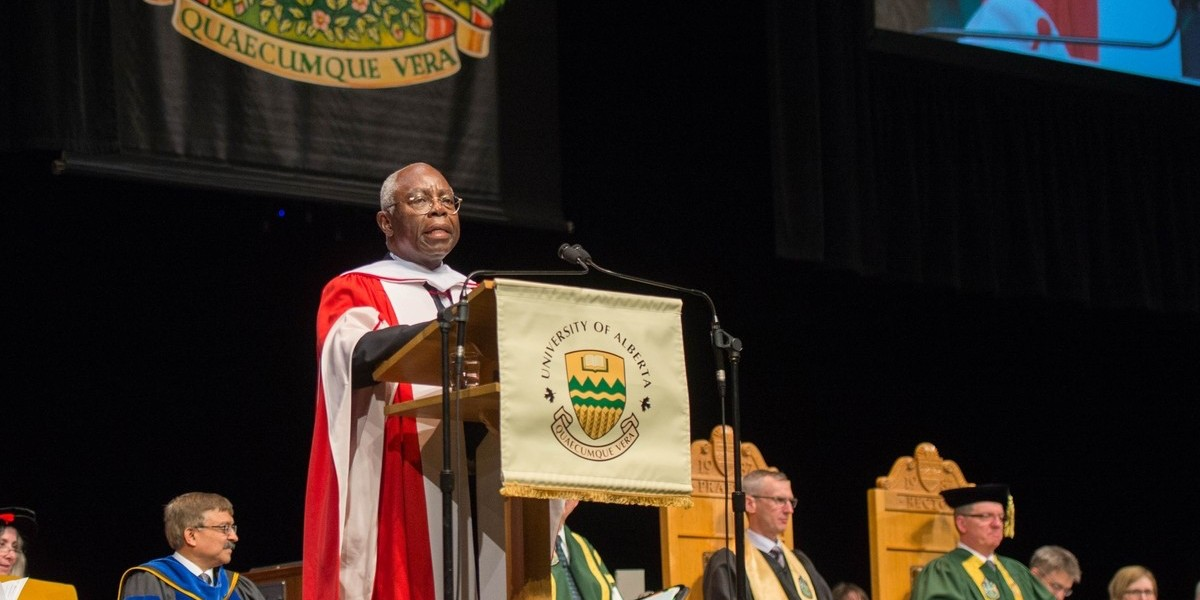 Jerome Nriagu addresses graduands of the faculties of ALES and nursing after receiving his honorary doctor of science degree June 13. (Photo: Richard Siemens)