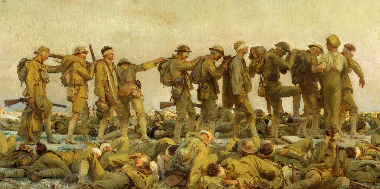 John Singer Sargent's 1919 painting Gassed depicts British soldiers blinded by a mustard gas attack during the First World War. (Image: Wikimedia Commons)