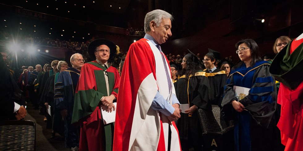 Kamaljit Bawa proceeds to the convocation stage to receive his honorary doctor of science degree June 10. (Photo: Richard Siemens)