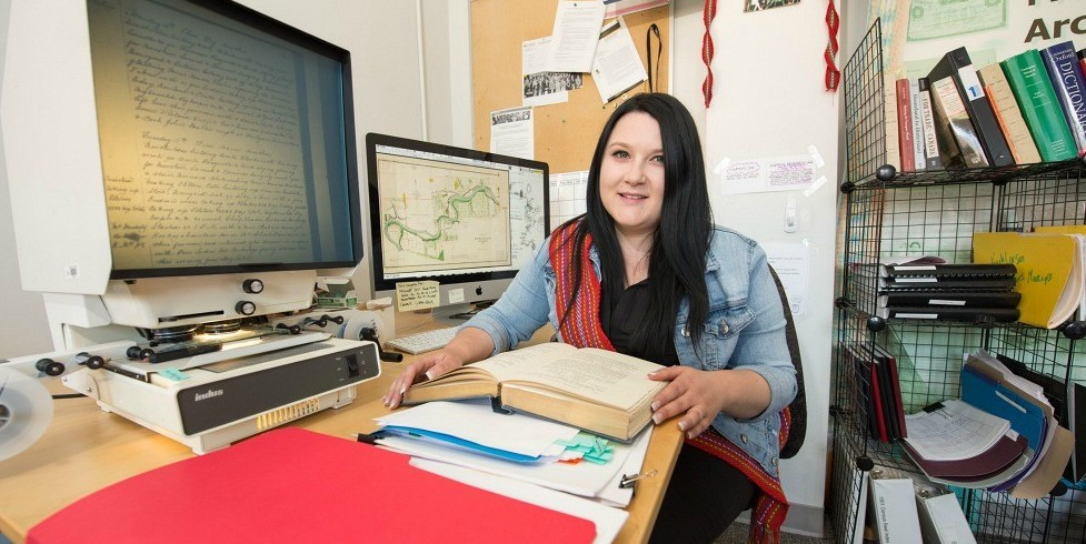 "Kayla Lar-Son felt a deep connection with the Métis history she explored during her research projects in the Faculty of Native Studies. ""Working over at the lab gave me a way of giving back to Indigenous communities through a different form."" (Photo: Richard Siemens)"