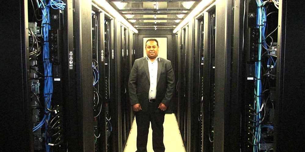 Khaled Barakat and the IBM Blue Gene/Q supercomputer.