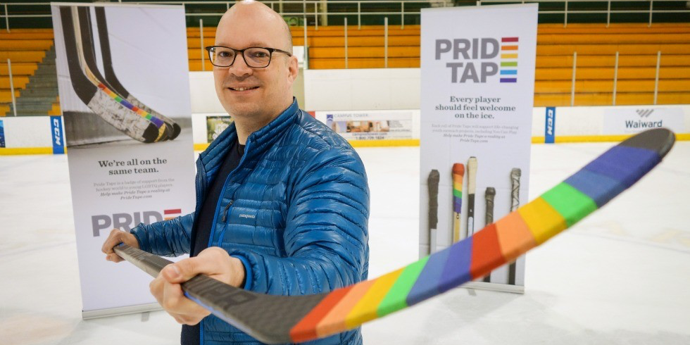 Kris Wells says Pride Tape is a way for athletes of all ages and skill levels to show their support for LGBTQ people in sport.