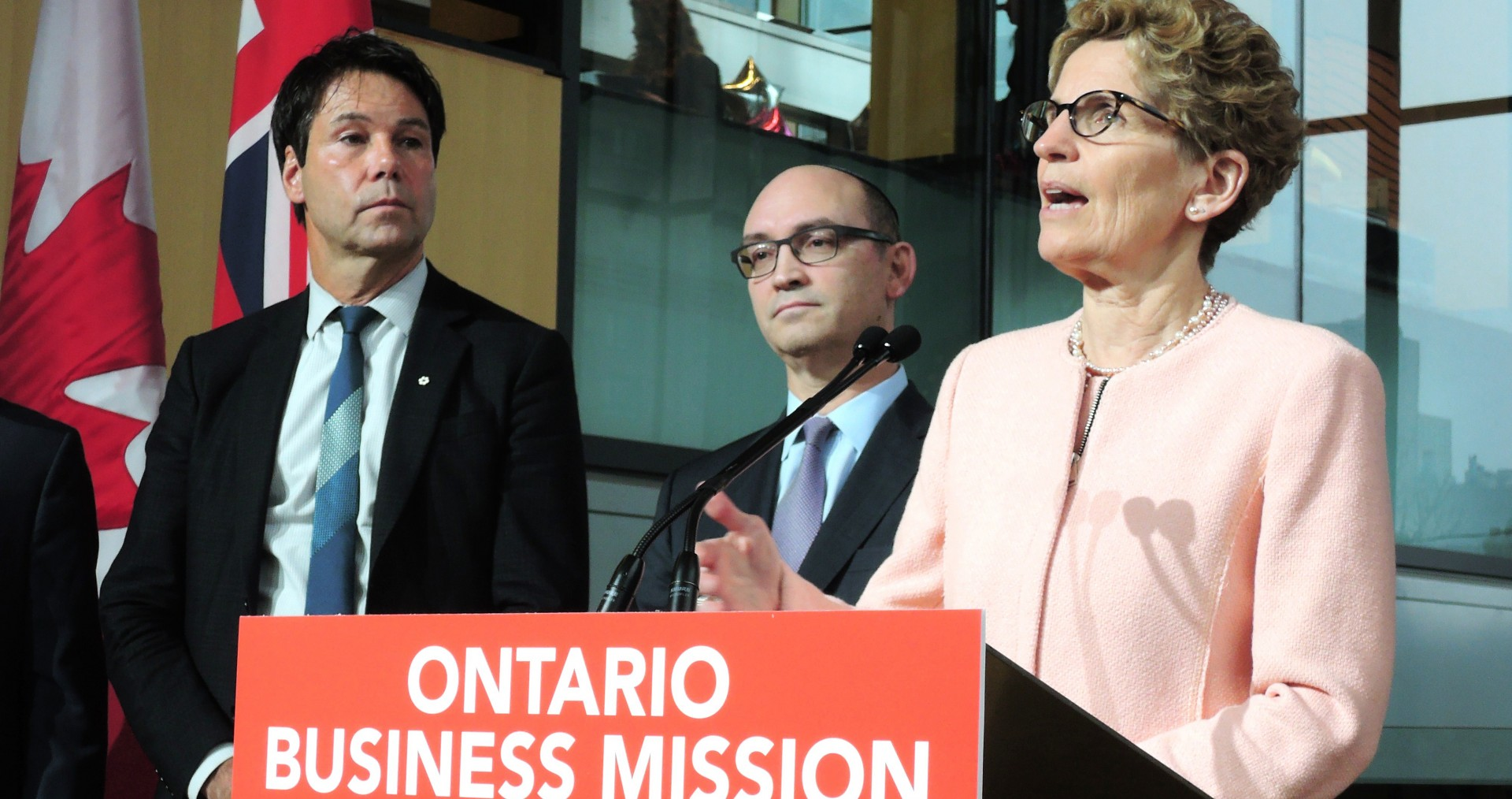 "Former Ontario premier Kathleen Wynne, seen here at an announcement, was often described in the media as the ""grandmother-premier,"" largely ignoring the  fact she was the first openly gay premier in the country."