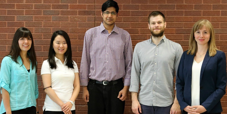 (From left) Engineering researchers Diana Martinez, ChanChan Wang, Preetam Anbukarasu, Dominic Sauvageau and Anastasia Elias are developing smart materials that can detect harmful bacteria like salmonella or E. coli in meat before it reaches store shelves.