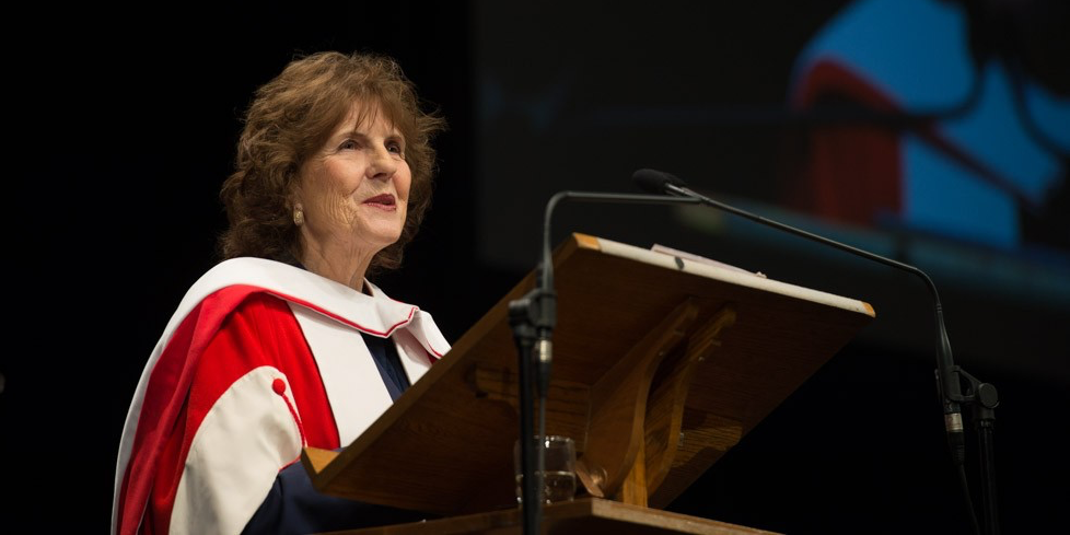 Lieutenant Governor Lois Mitchell addresses the class of 2015 after receiving her honorary doctor of laws degree on November 17. (Photo: Richard Siemens)