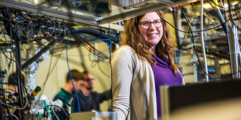 Lindsay J. LeBlanc Assistant Professor, Canada Research Chair in Ultracold Gases for Quantum Simulation,AITF Strategic Chair in Hybrid Quantum Systems in her lab on Wednesday, January 11, 2017.Credit: John Ulan