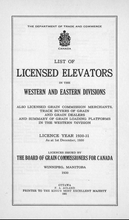 List of grain elevators from 1930.
