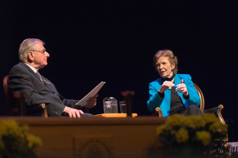 Mary Robinson engages in a public conversation with former U of A board chair Jim Edwards June 21, 2016.