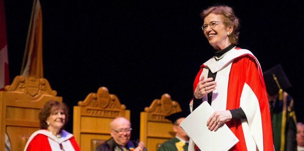 Mary Robinson is congratulated on receiving her honorary doctor of laws degree at a special conferral ceremony June 21. (Photos: Richard Siemens)