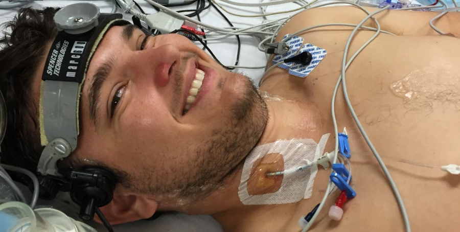 Masters student Stephen Busch hooked up and ready to undergo a study investigating the specific role of blood cells on the response to low oxygen during baseline testing, which took place in Kelowna from August 22 to September 2.