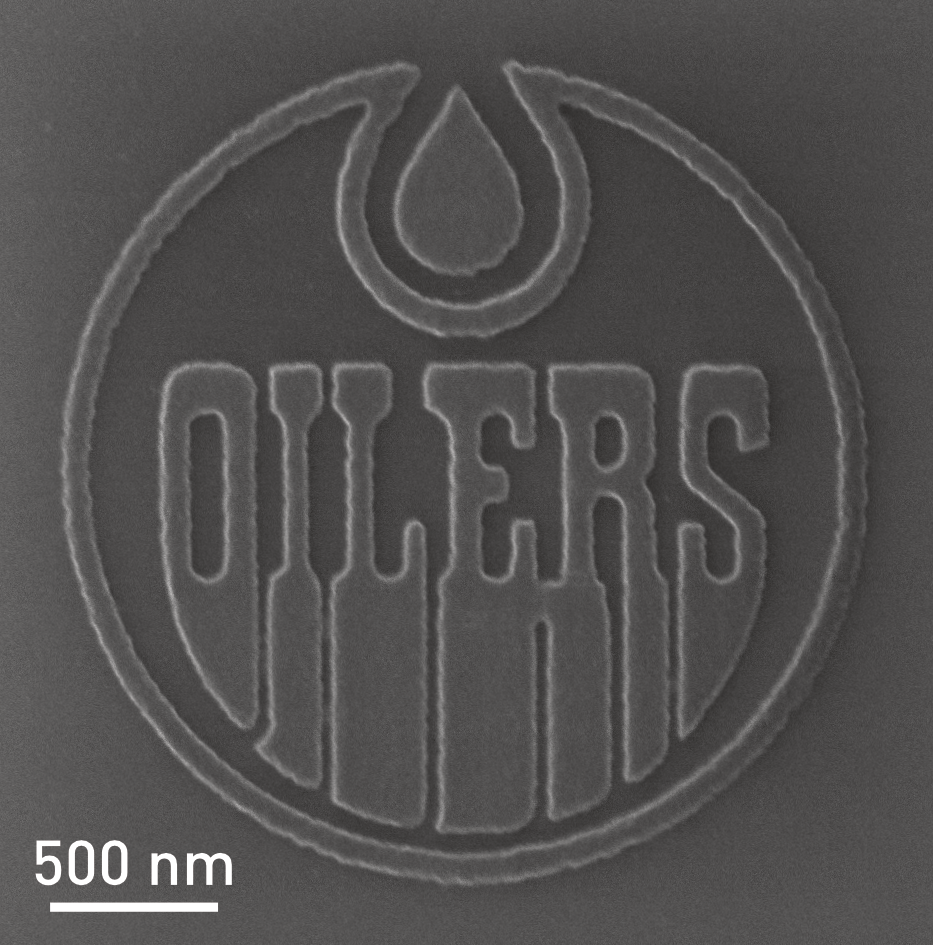 nanoFAB at the University of Alberta has created the world's smallest NHL logo at only 2.4 µm in diameter.