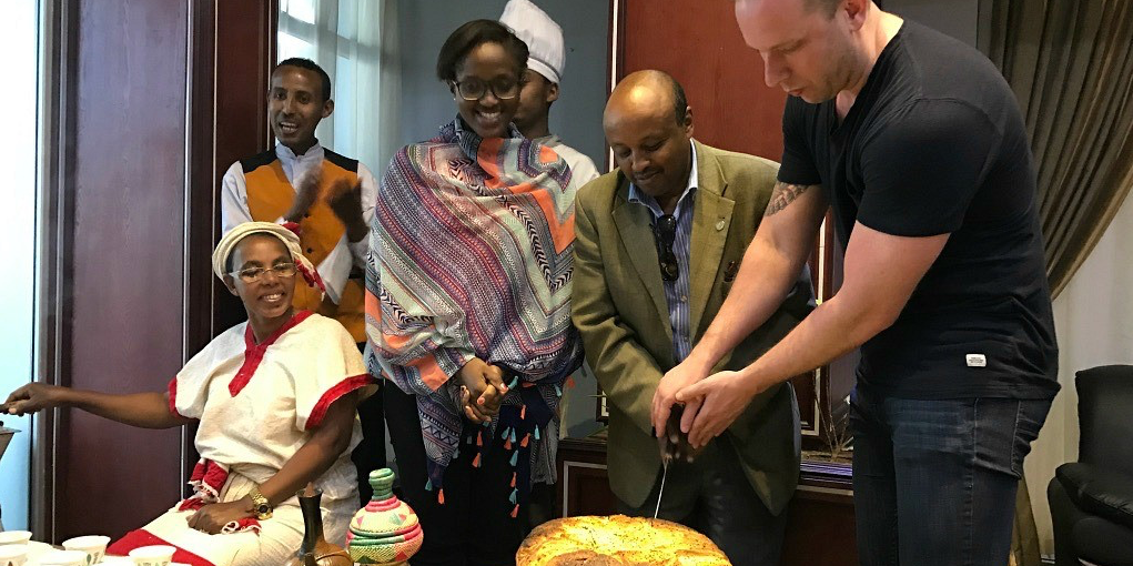 MBA students Doran Walker and Hickimatu Braimah had a chance to take a break from their intensive coursework by partaking in Ethiopian Christmas celebrations in January. (Photo: Frontiers of Business Initiative)