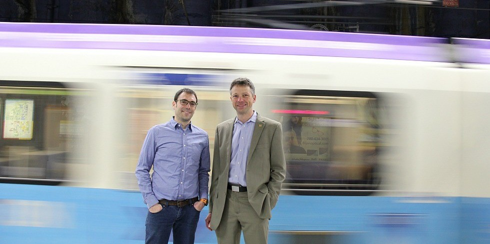 Mechanical engineering professors Marc Secanell and Pierre Mertiny found that using flywheels on light rail transit can produce big savings in power and cost by harnessing the energy generated when trains brake.