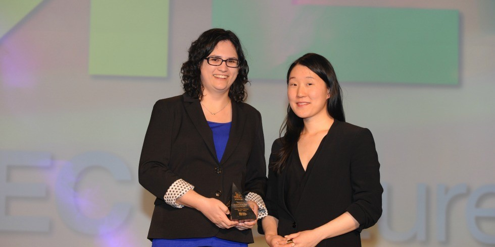 Neesha Desai (left) and Kit Chen, founders of Alieo Games, received $50,000 as the inaugural winner of the Ross and Verna Tate Science Entrepreneurship Award. Alieo also took home the people's choice award at the TEC VenturePrize Awards April 29.