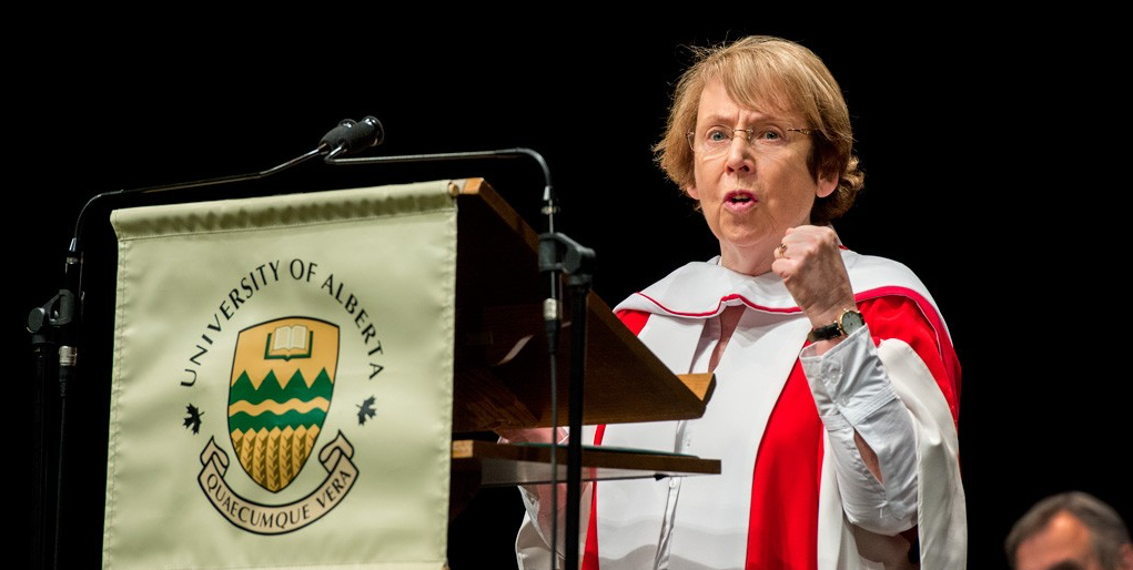 Professor emerita and former arts dean Patricia Clements emphasizes a point during her rousing convocation address June 10. (Photo: Richard Siemens)