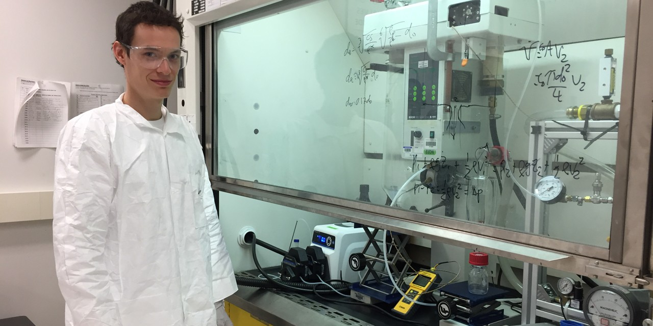 PhD student Nicholas Carrigy is part of the engineering team that was tapped to develop a powder that employs a virus to kill harmful bacteria found on food found primarily in Kenya.
