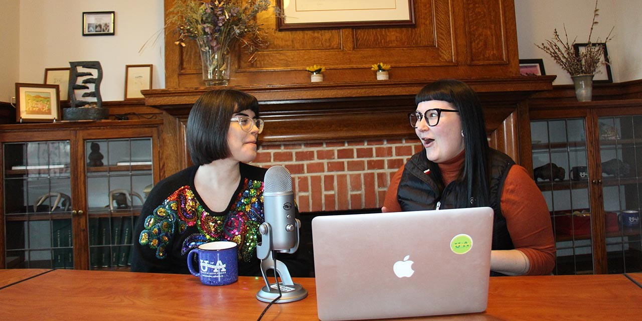 Sheila Laroque (left), Kayla Lar-Son and Tanya Ball (not pictured) created the Book Women podcast to encourage Indigenous writers and publishers to share their work. (Photo: Jordan Mae Cook)