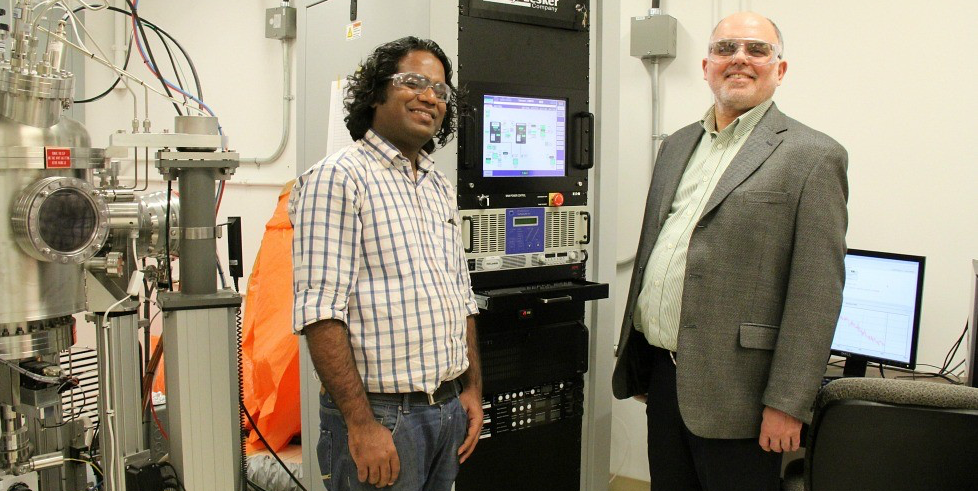 Post-doctoral fellow Triratna Muneshwar and professor Ken Cadien have developed a new method of engineering thin films that could save the electronics industry millions in manufacturing costs.