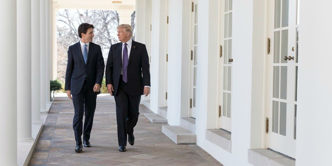 Prime Minister Justin Trudeau and President Donald Trump talk at the White House during Trudeau's visit to Washington Feb. 13.