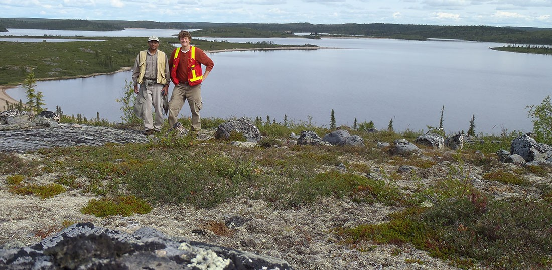 Jesse Reimink (R) and Tom Chacko (L) in the Northwest Territories, roughly 300km North of Yellowknife, near the field locality of one of the world's oldest rock formations.