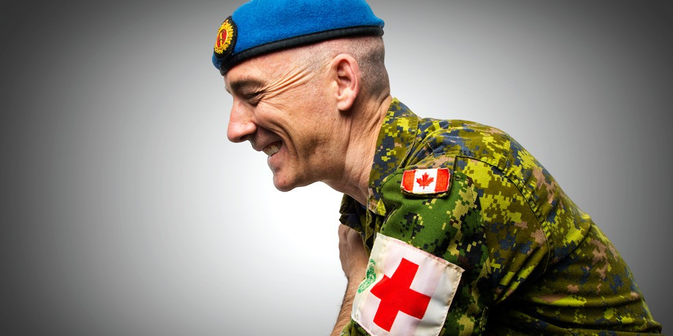 Roger Scott was an airplane mechanic, an ambulance driver and a paramedic before earning his PhD in nursing. Now he is responsible for strategic policy and direction for the Canadian Forces Health Services Reserve. (Photo: Richard Siemens)