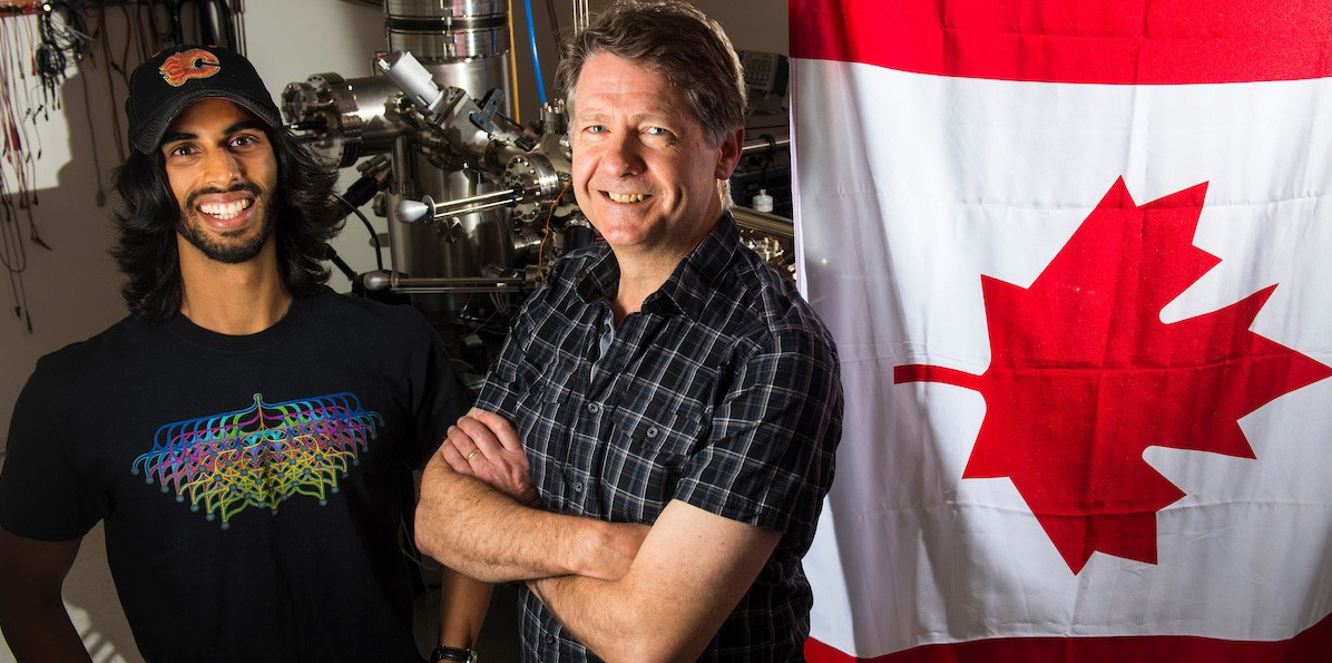 PhD student Roshan Achal (L) and his supervisor, physics professor Robert Wolkow (R) have created a maple leaf 10,000 times smaller than the diameter of a human hair using scanning tunneling microscopy, a technique the scientists have perfected with major implications for future technology.