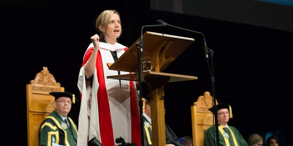 Samantha Nutt, honorary doctor of science, addresses graduands during convocation ceremonies on November 18. (Photo: Richard Siemens)
