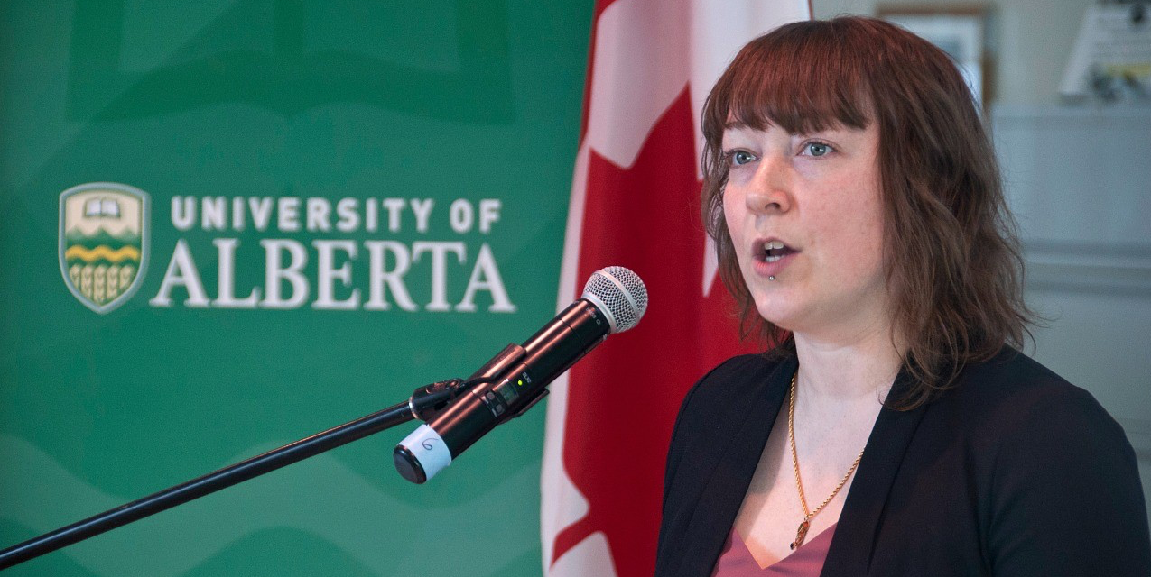 Chemistry researcher Sarah Styler speaks at the announcement of $2.1 million in funding to 14 UAlberta projects through CFI's John R. Evans Leaders fund.