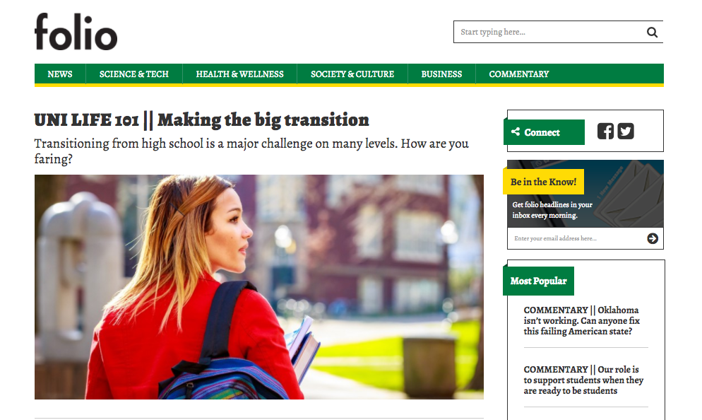 The University of Alberta launched its brand journalism site, folio.ca, today.