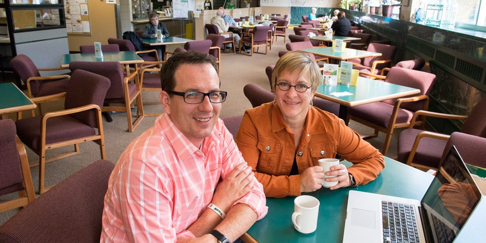 Jason Daniels (left) and Kyle Whitfield are leading research into the challenges facing seniors' centres, and the opportunities for these gathering places to help older adults maintain their health and contribute to their communities. (Photo: Richard Siemens)