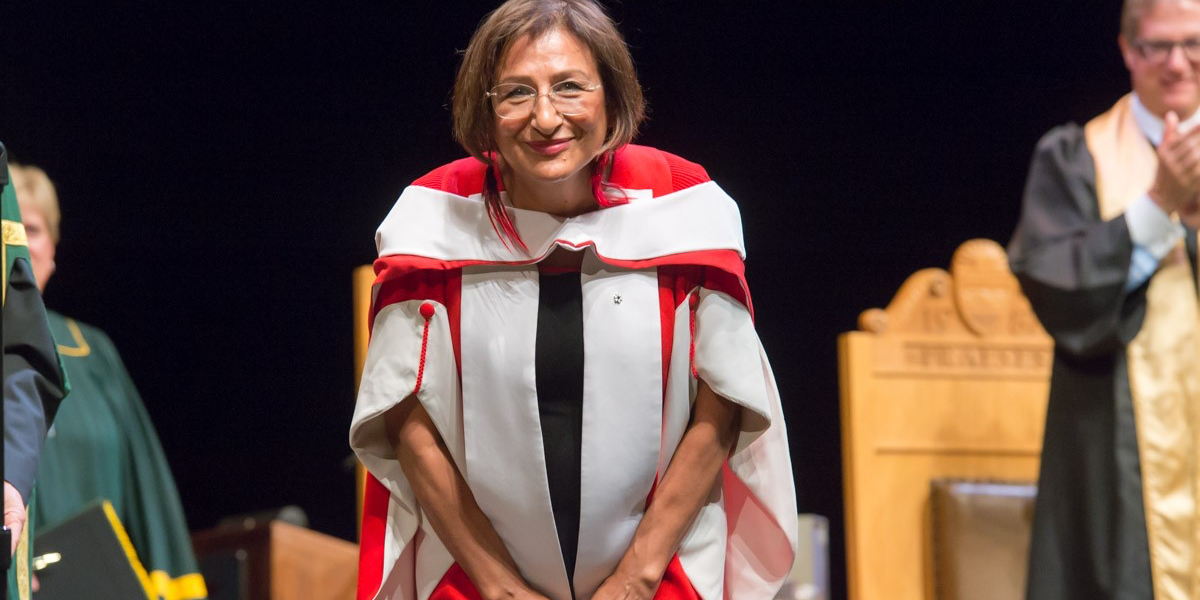 Sharon Anne Firth, four-time Olympic cross-country skier for Canada and member of G'wich'in Nation, received an honorary doctor of laws degree June 14. (Photo by Richard Siemens)