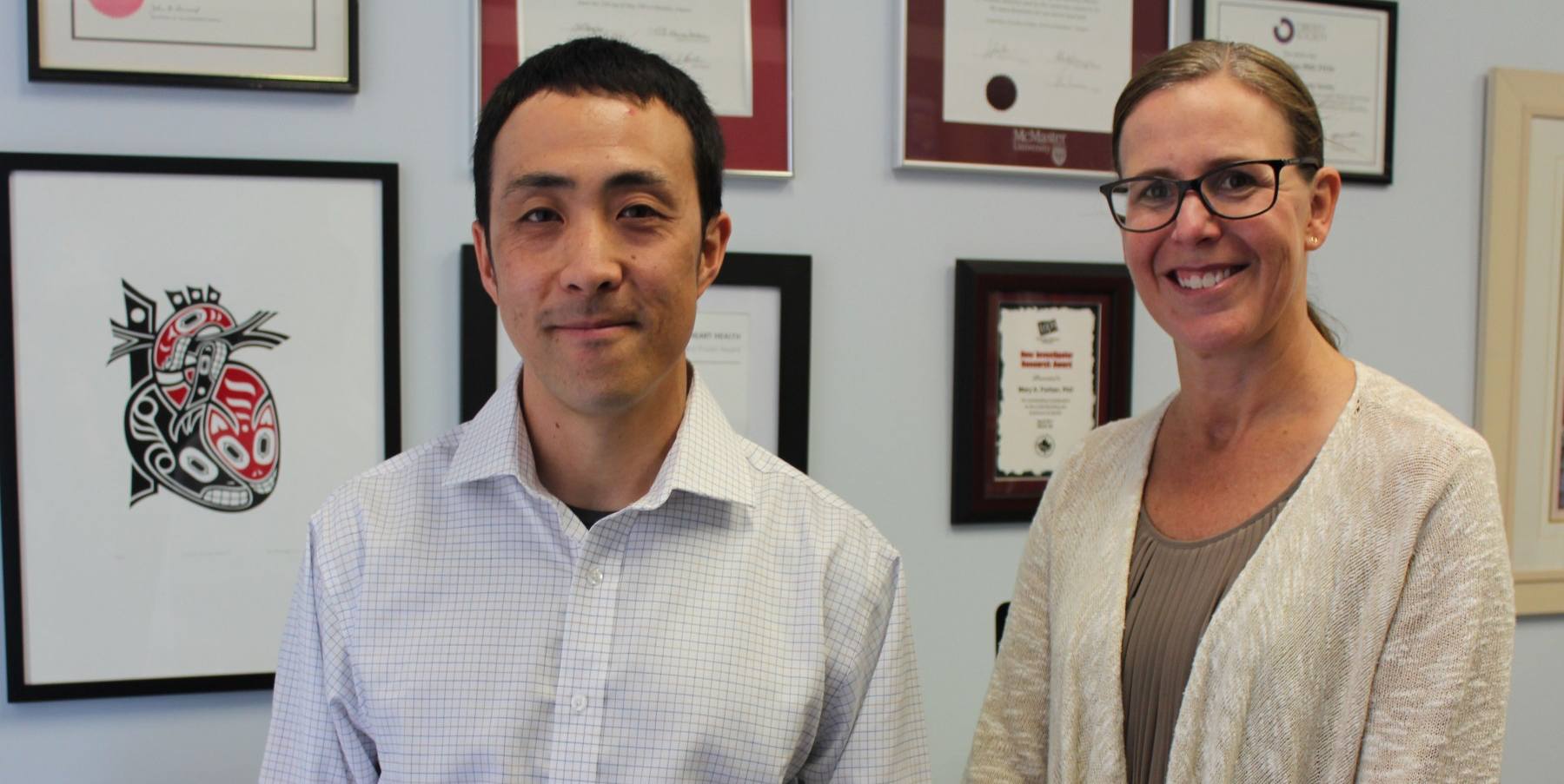 Tasuku Terada (left), postdoctoral research fellow at the Faculty of Rehabilitation Medicine and his supervisor, Mary Forhan (right), assistant professor in the Department of Occupational Therapy. (Photo by Erica Yeung)