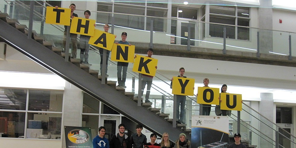 The student team behind the Alberta satellite project show their gratitude to crowdfunding supporters who donated more than $25,000 on Giving Day Dec. 2—and to the anonymous donor who is matching those donations, bringing the 24-hour total to over $50,000. Watch the students' thank-you video