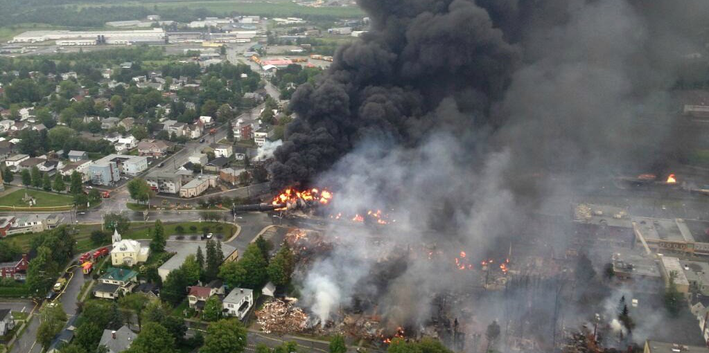 The Lac-Mégantic rail disaster killed 47 people and left much of the downtown destroyed after a freight train containing crude oil derailed and exploded in 2013. (Photo: Wikimedia Commons)