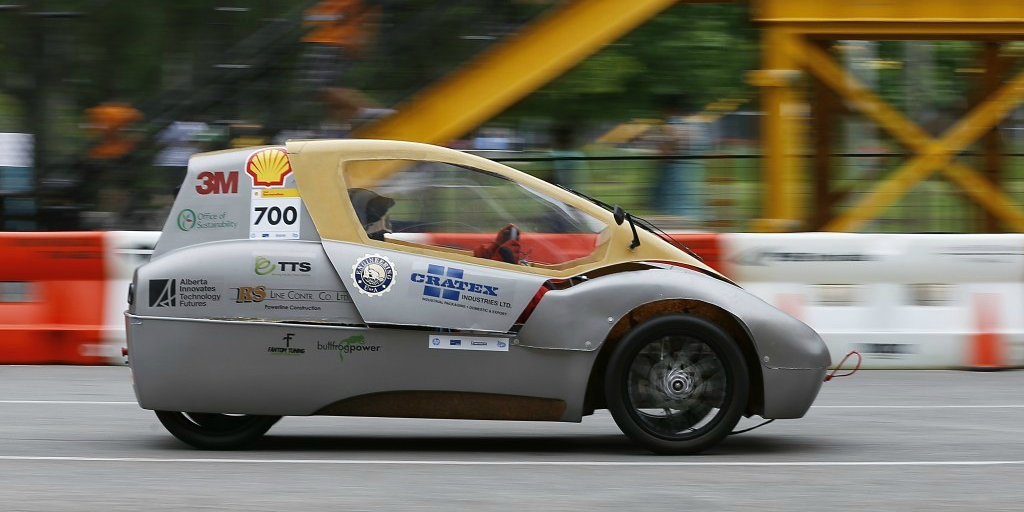 The U of A EcoCar on track to victory in an international competition in Houston (Photo: U of A EcoCar team).
