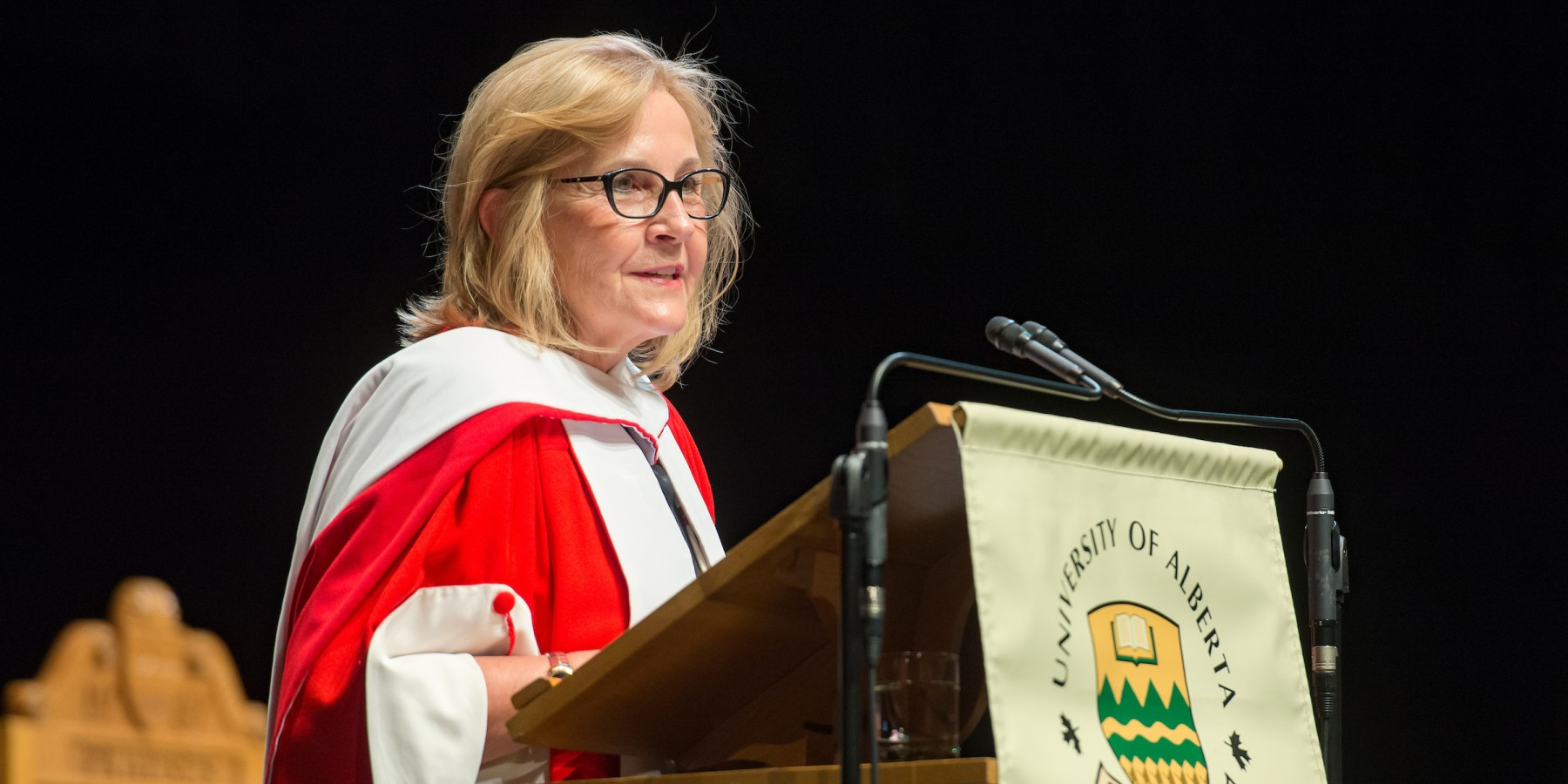 Truth and Reconciliation Commissioner Marie Wilson addresses graduands after receiving an honorary Doctor of Laws degree on June 8. (Photo by Richard Siemens)
