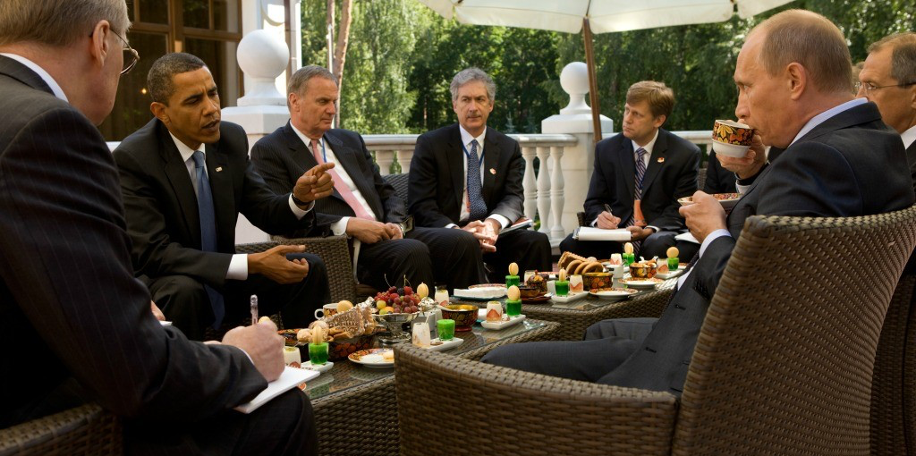 U.S. President Barack Obama and then Russian Prime Minister Vladimir Putin meet at Putin's dacha outside Moscow in 2009. (Photo: White House)