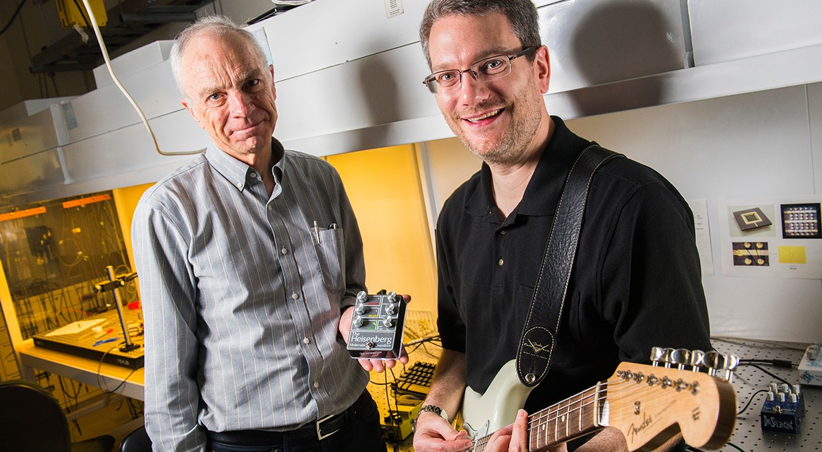 UAlberta chemistry professor Rick McCreery (L) and Adam Bergren, a senior research officer at the National Research Council of Canada (NRC), are making molecular music. Photo: John Ulan