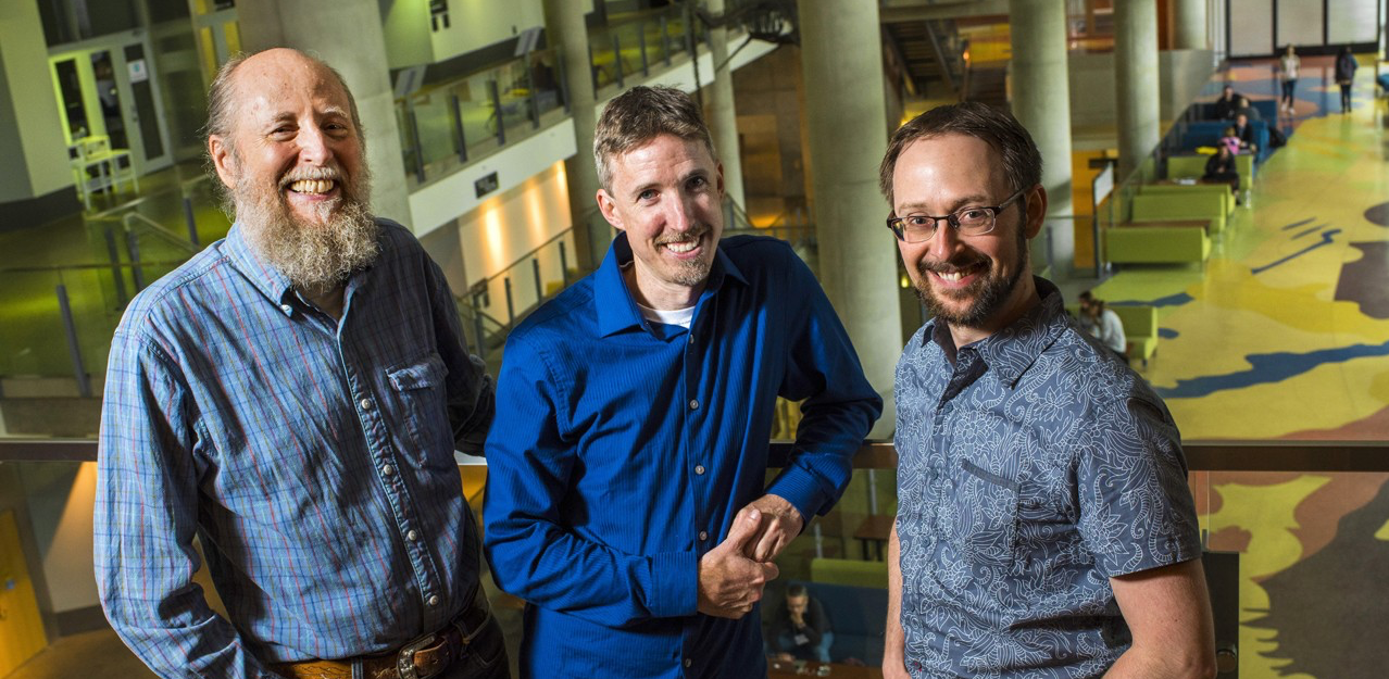 UAlberta computing science professors (from left to right) Richard Sutton, Michael Bowling and Patrick Pilarski are working with DeepMind to open the AI powerhouse company's first research lab outside the United Kingdom. (Photo: John Ulan)