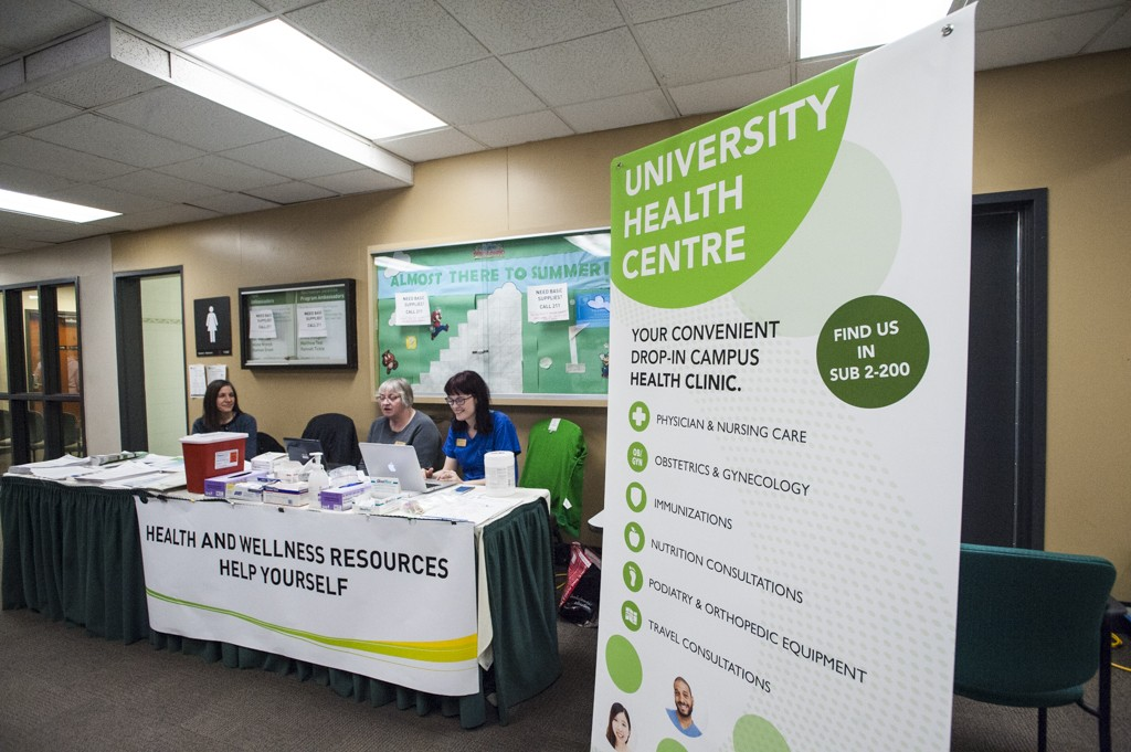 University Health Centre staff at a health inside Lister Centre. (Photo- Richard Siemens)