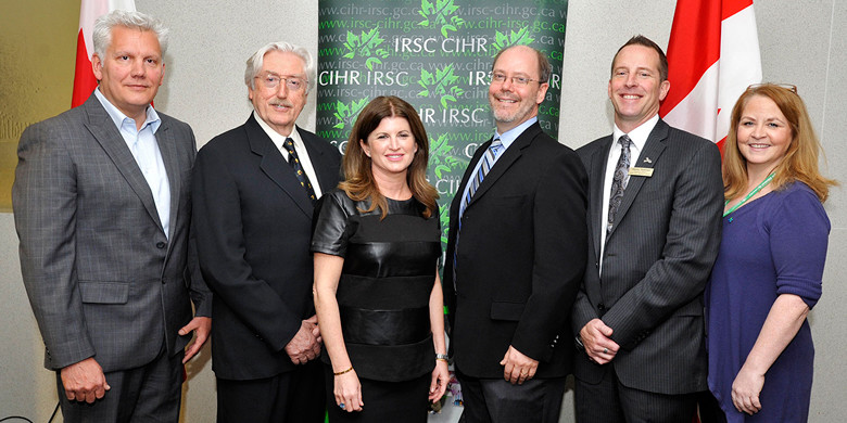 (From left) Allan Aubrey, Alberta Health Services; Anthony Phillips, Canadian Institutes of Health Research; Hon. Rona Ambrose, minister of health; Cam Wild, University of Alberta; Stacey Petersen, Fresh Start Recovery Centre; Katherine Todd, Alberta Health Services