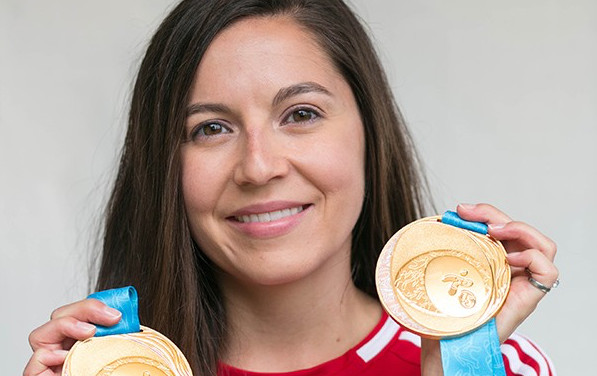 Alumna Lynda Kiejko won gold medals in two pistol shooting events at the Pan Am Games, allowing her to follow in her sister's and father's footsteps and compete in the Olympics. Photo credit: Heather Rattai Photography
