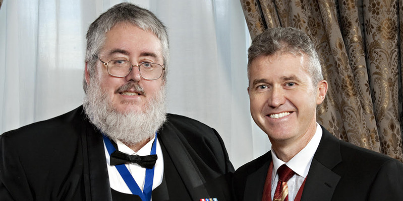 "Austin Mardon (left) with Christopher Doig, then-president of the Alberta Medical Association, circa 2010, at the ceremony where Mardon received his Medal of Honour. The Medal of Honour is given to ""non-physicians who have made an outstanding personal contribution to the people of Alberta."""