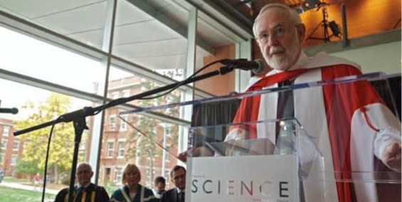 Canada's newest Nobel laureate Arthur McDonald accepting an honorary degree from the University of Alberta in 2011 to coincide with the opening of the Centennial Centre for Interdisciplinary Science
