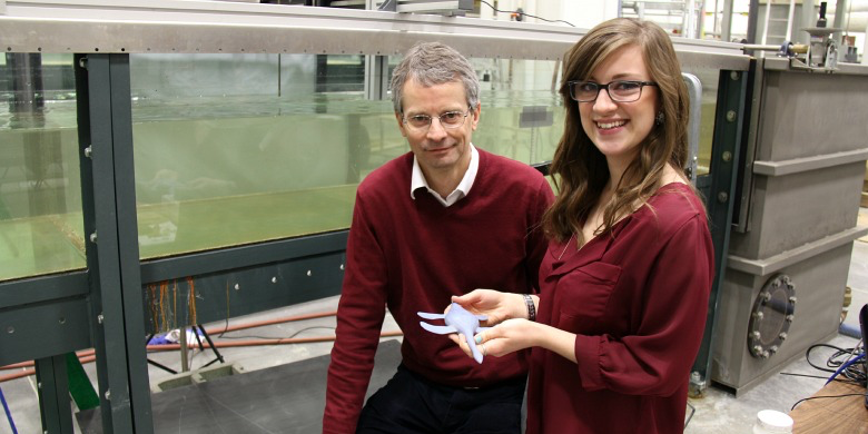 Civil engineering student Laurel Richards and professor Mark Loewen used a scale model of a plesiosaur in a water flume to explore how the ancient sea lizard swam.